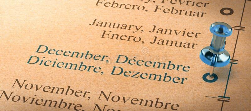 Enfoqúese en diciembre, los meses del calendario del año ilustración del vector