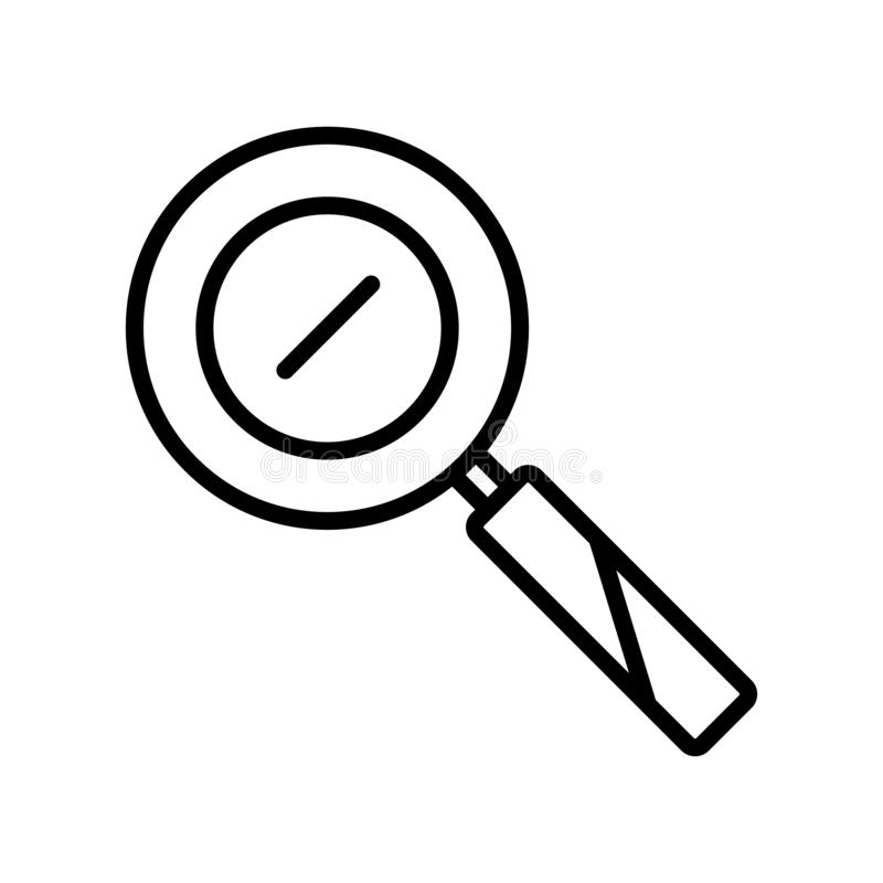Enfoque en el vector del icono aislado en el fondo blanco, enfoque en elementos de la muestra, de la línea y del esquema en estil ilustración del vector