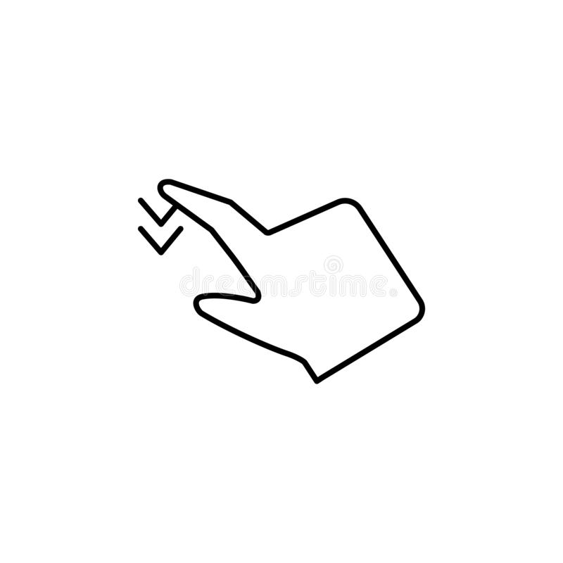 Enfoque, gestos, icono de la opción de las multimedias Elemento del icono de la corrupción L?nea fina icono en el fondo blanco stock de ilustración