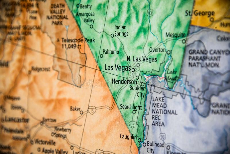Enfoque Selectivo De Las Vegas Nevada En Un Mapa Geográfico Y Político De Estado De Los Estados Unidos imagenes de archivo