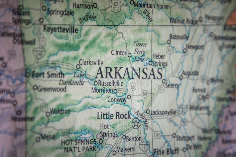 Enfoque Selectivo Del Estado De Arkansas En Un Mapa Geográfico Y Político De Los Estados Unidos foto de archivo