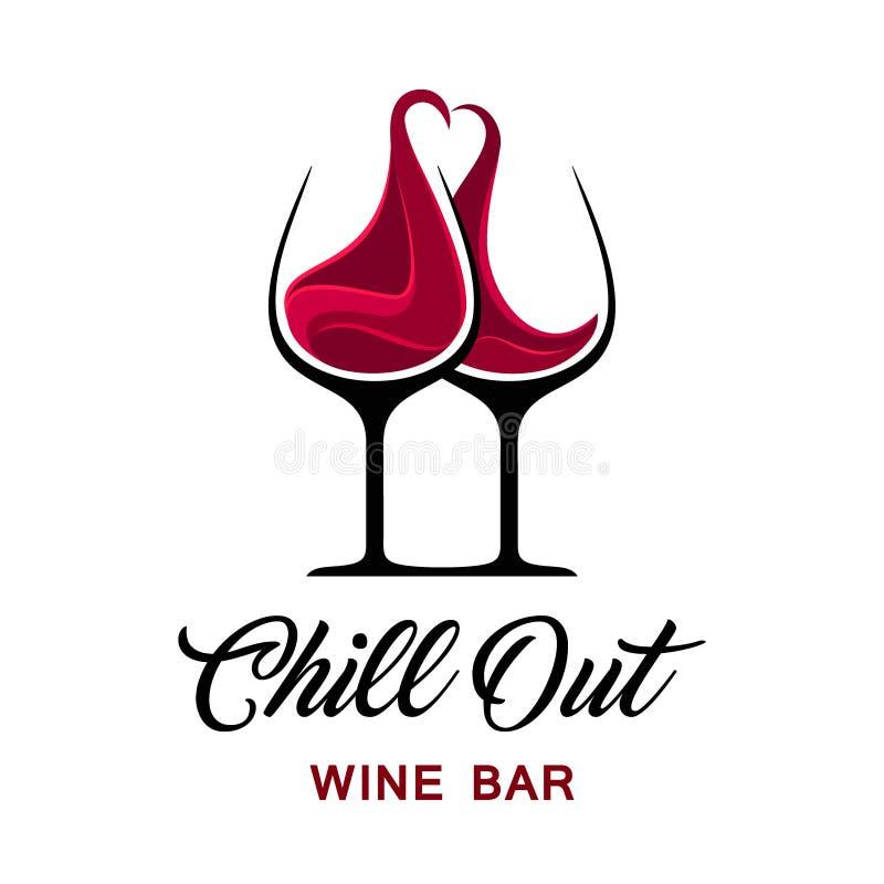 Enfríe hacia fuera la plantilla del logotipo del bar de vinos libre illustration