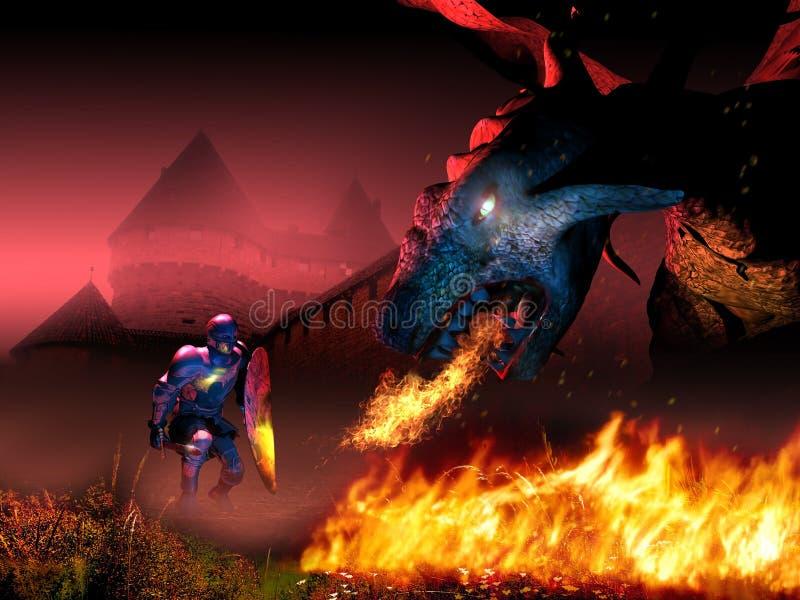 Enfrentando o dragão ilustração do vetor