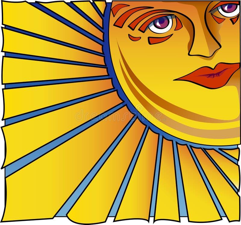 Enfrentando o Sun ilustração stock
