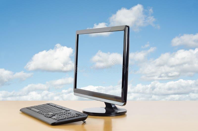 Enfrentar de computação da nuvem à esquerda fotografia de stock royalty free