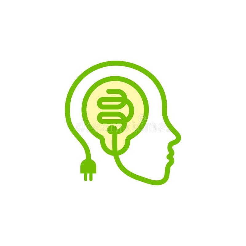 Enfrente a silhueta, contorno do fio bonde estilizado com uma ampola dentro da cabeça Ícone da ideia, símbolo criativo do cérebro ilustração stock