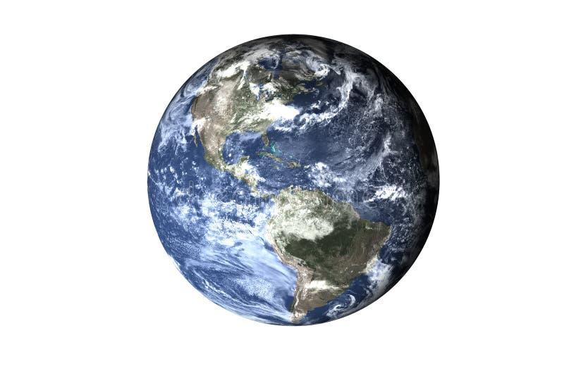 Enfriamiento global en la tierra del planeta de la Sistema Solar aislada Elementos de esta imagen equipados por la NASA fotos de archivo libres de regalías