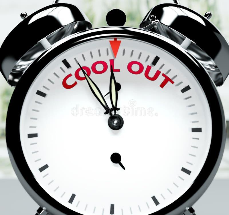 Enfriarse pronto, casi allí, en poco tiempo - un reloj simboliza un recordatorio de que Cool out está cerca, ocurrirá y terminará stock de ilustración
