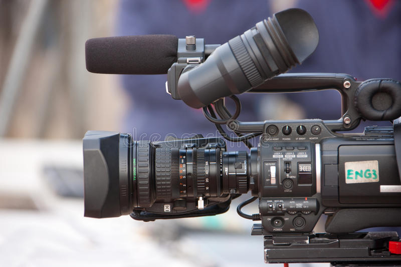 ENG camera. Electronic news gathering video camera HD, equipment in the field stock image