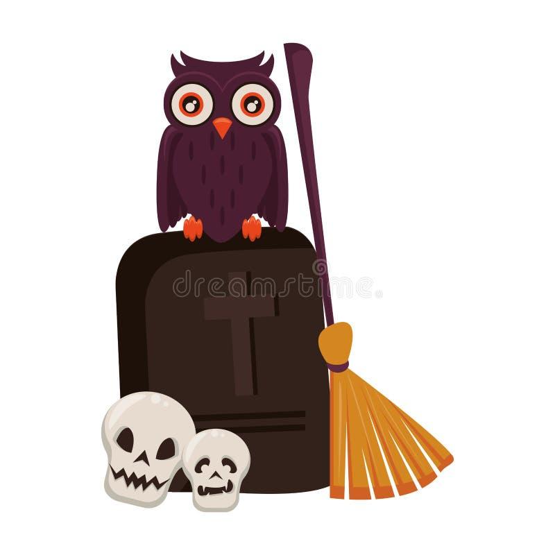 Eng de vieringsbeeldverhaal van Halloween oktober stock illustratie