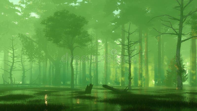 Eng geheimzinnig bosmoeras bij nevelige nacht stock illustratie