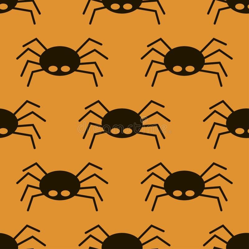 Eng groot zwart spin naadloos patroon, giftige isect royalty-vrije illustratie
