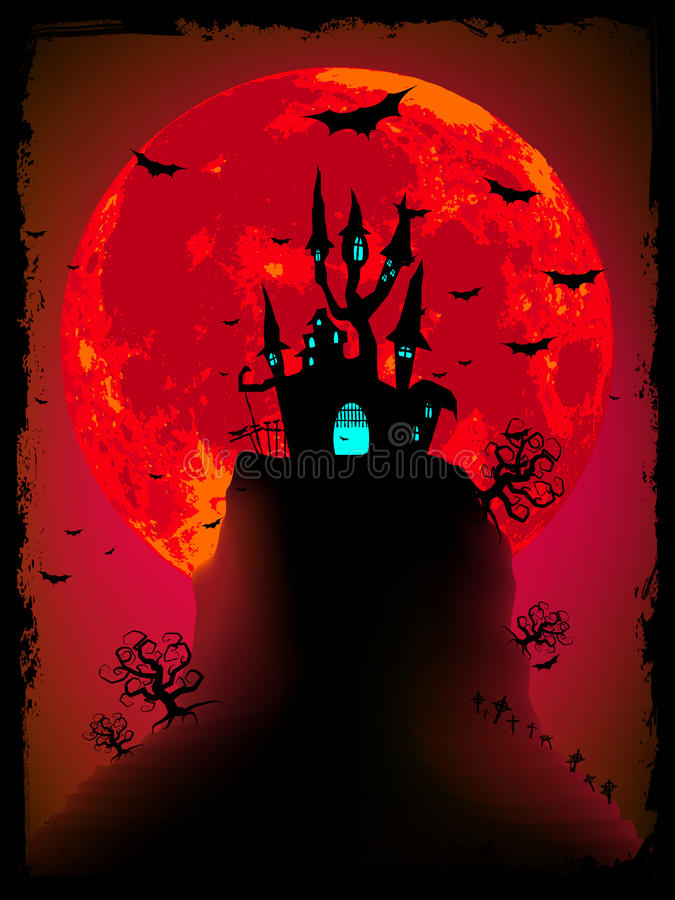 Eng Halloween met magische abdij. EPS 8 stock illustratie