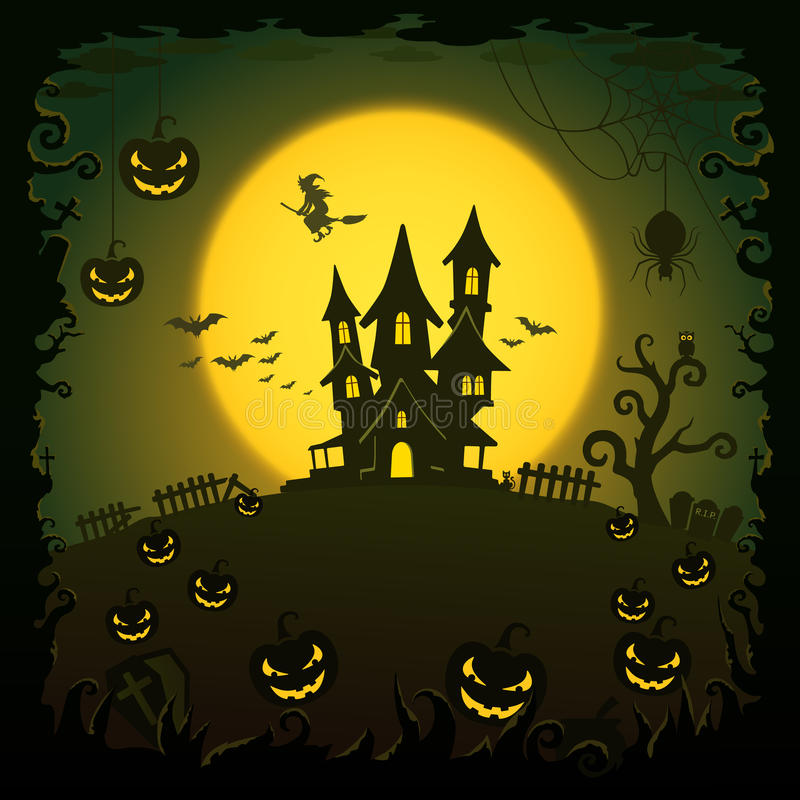 Eng huis, Halloween-achtergrond stock illustratie