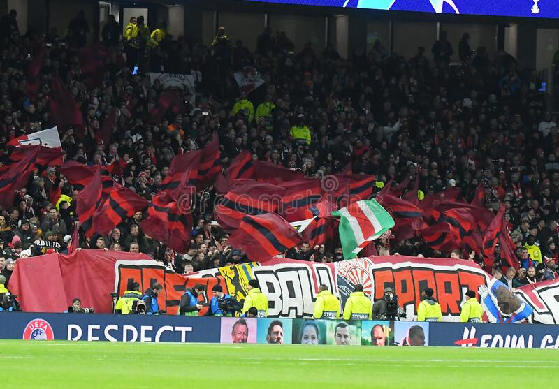 RB Leipzig Ultras waving Flags royalty free stock images
