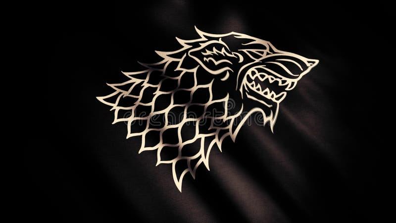 Eng wolfshoofd in profielmening over zwarte zijdeachtige bewegende vlag met glans, naadloze lijn Direwolf als symbool van Grimmig royalty-vrije stock afbeeldingen