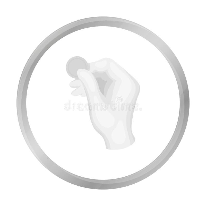 Engañe con el icono de la moneda en estilo monocromático aislado en el fondo blanco Vector mágico blanco y negro de la acción del ilustración del vector