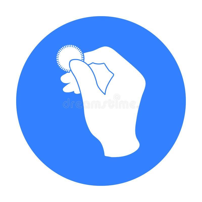 Engañe con el icono de la moneda en estilo negro aislado en el fondo blanco Ejemplo mágico blanco y negro del vector de la acción stock de ilustración