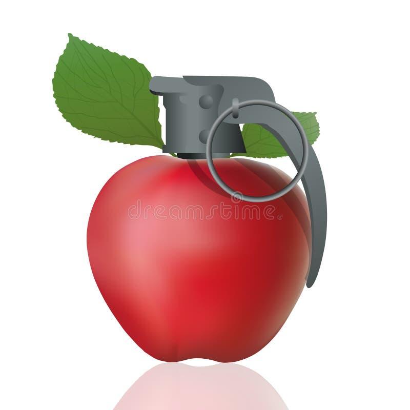 Engañe el concepto con la manzana roja formada granada ilustración del vector