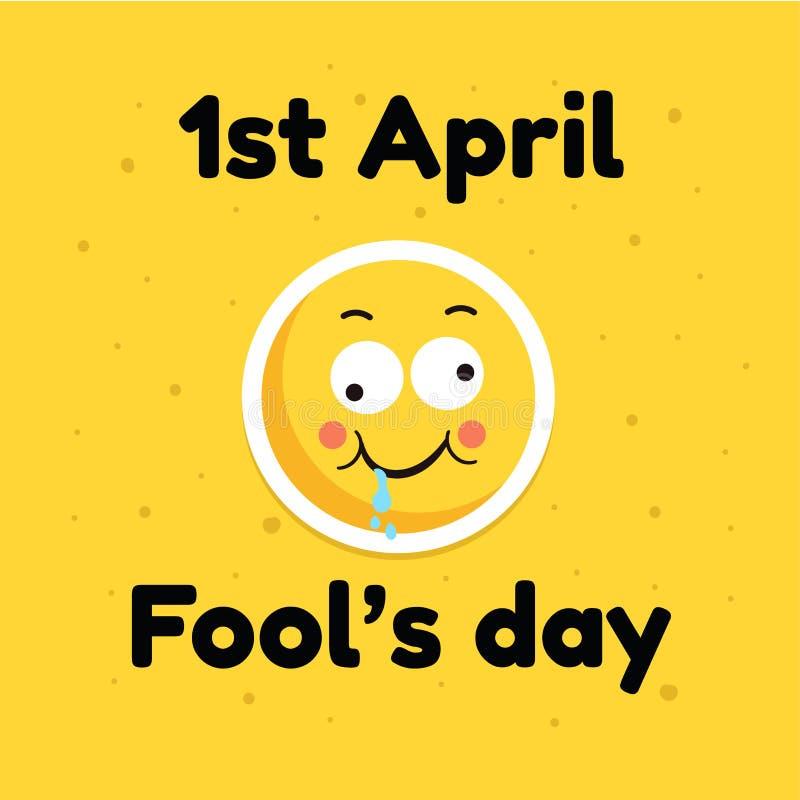 Engañe la cara cómica del emoticon de la bandera de la tarjeta de felicitación del día de fiesta de abril del día, ejemplo plano  stock de ilustración