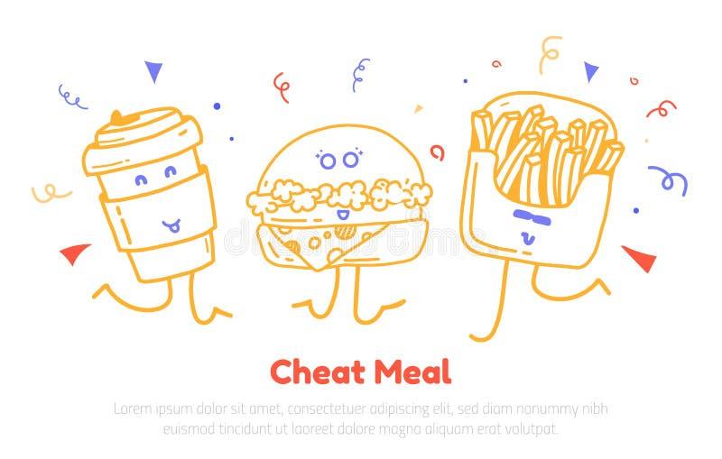 Engañe la tarjeta del cartel del día de la comida con el diseño moderno lindo de los caracteres hamburguesa, de la taza y de las  libre illustration