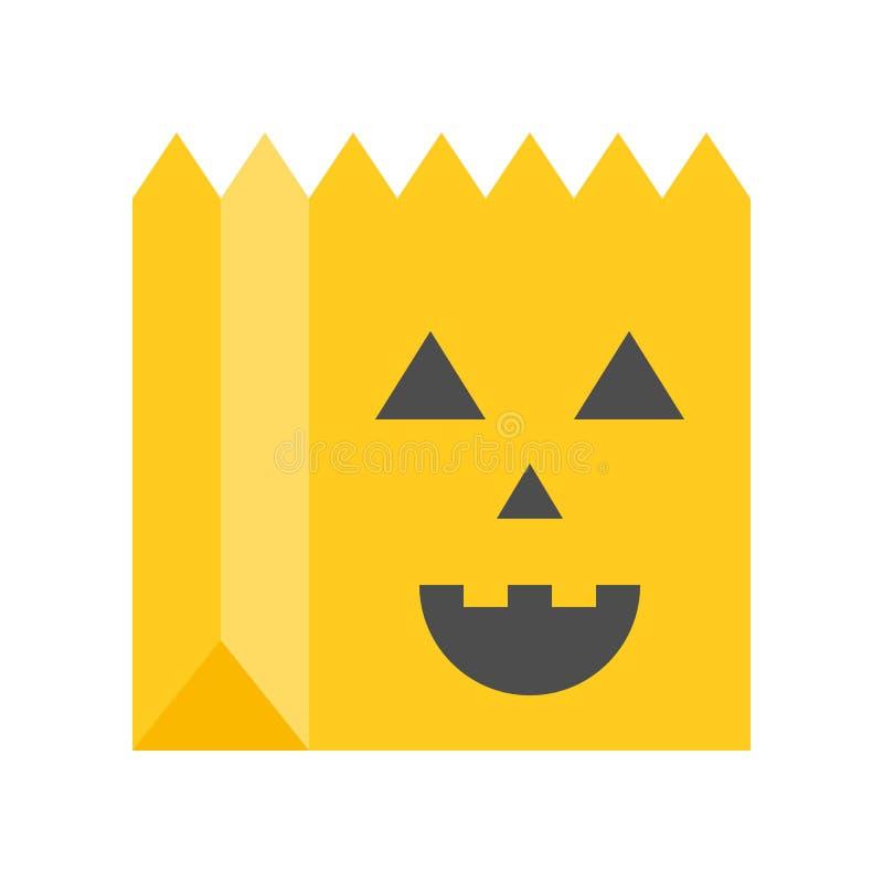 Engañe o trate con el bolso asustadizo de la cara, Halloween relacionó el icono, completamente ilustración del vector