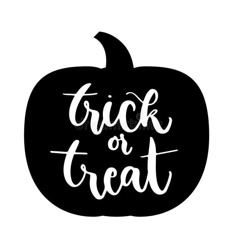 Engañe o trate las letras en icono de la calabaza Concepto del feliz Halloween ilustración del vector