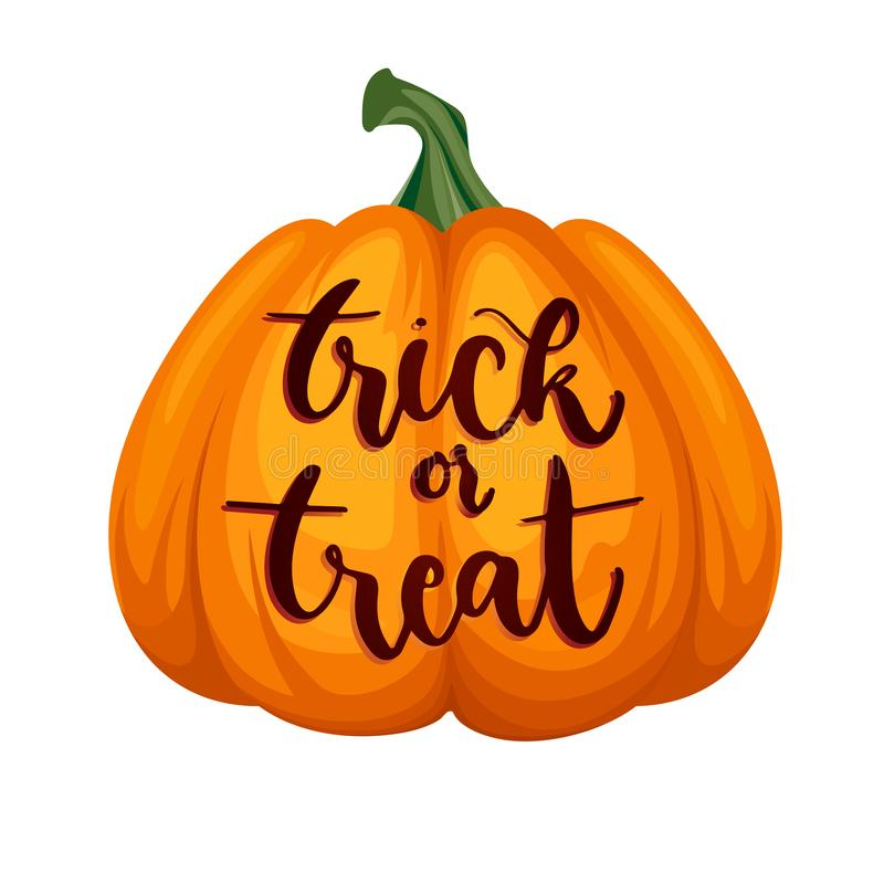 Engañe o trate las letras en la calabaza Concepto del feliz Halloween stock de ilustración