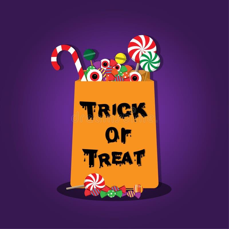 Engañe y trate el caramelo y el desierto puestos de la bolsa de papel del texto el día de Halloween stock de ilustración