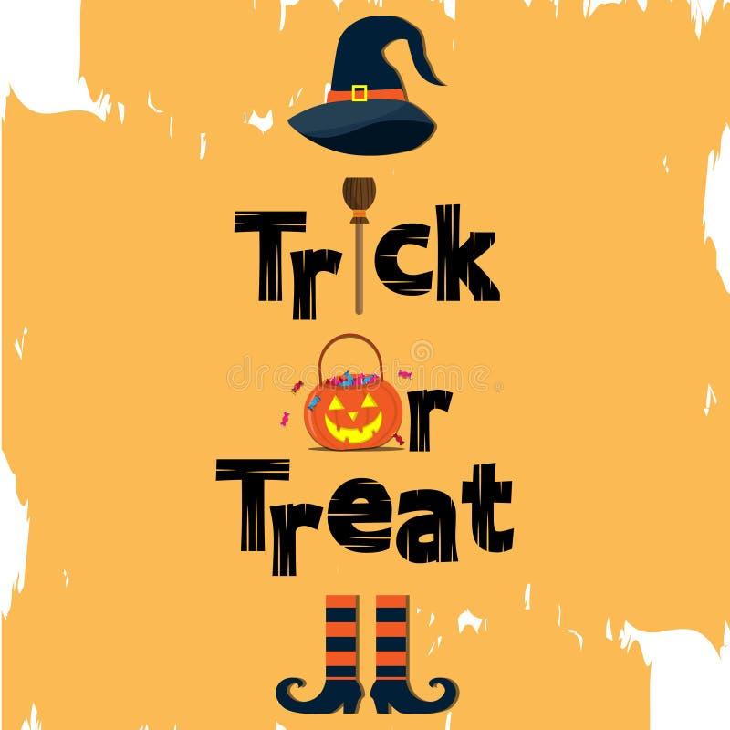 Engañe y trate el texto Halloween y el sombrero de la bruja el fondo anaranjado libre illustration