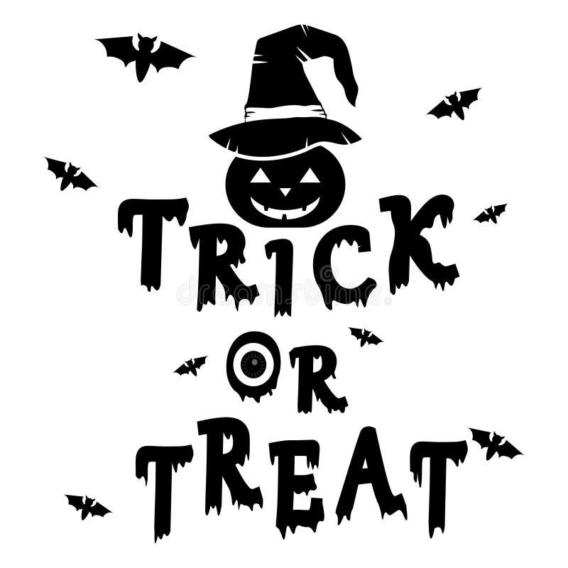 Engañe y trate el texto Halloween y el sombrero puesto calabaza de la bruja con el palo en fondo stock de ilustración
