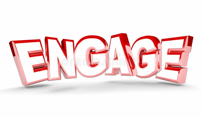 Engage Join Interact Get Involved Word royalty free illustration