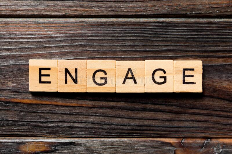 ENGAGE-woord geschreven op houtblok ENGAGtekst op houten tafel voor uw ontwerp, concept royalty-vrije stock afbeelding