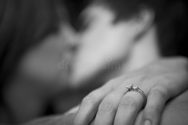 Engaged couple embracing royalty free stock photos