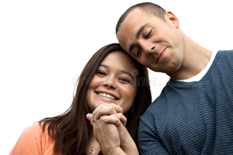 Engaged Couple Holding Hands stock images