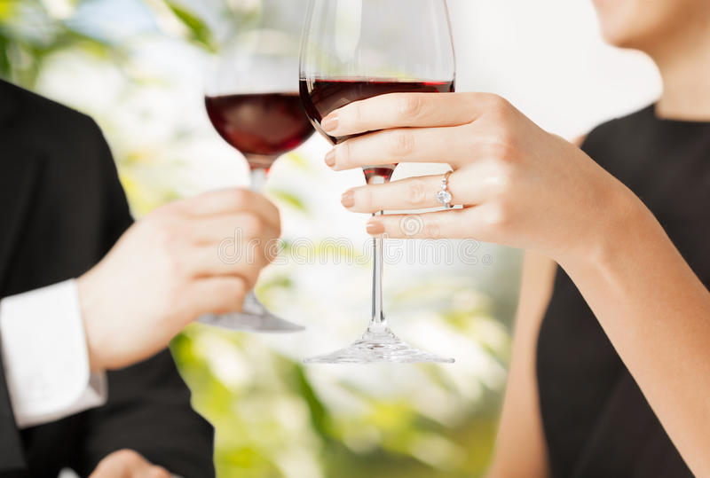 Download Engaged Couple With Wine Glasses Stock Photo - Image: 38071230