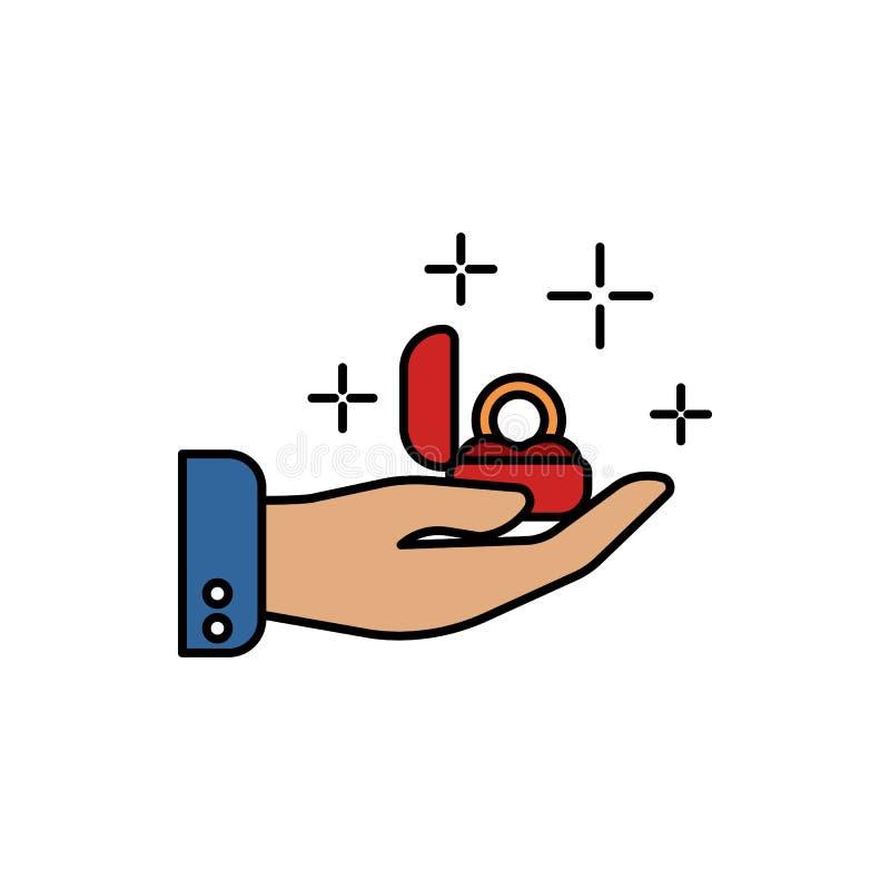 engagement, anneau, icône de couleur d'amour Élément des signes d'amour de couleur Icône de la meilleure qualité de conception gr illustration stock