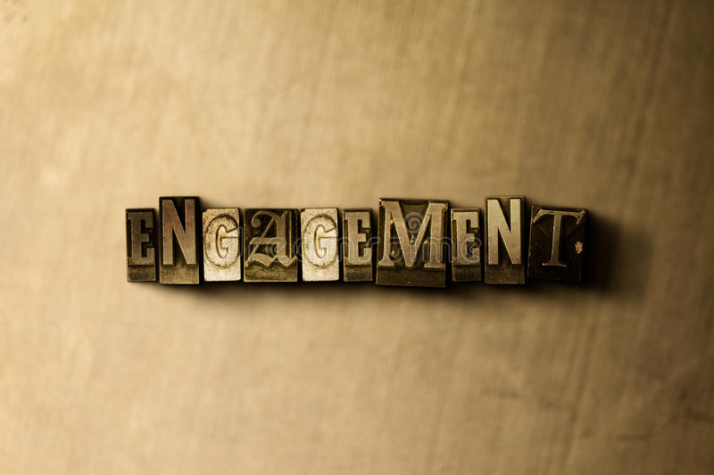ENGAGEMENT - close-up of grungy vintage typeset word on metal backdrop. Royalty free stock illustration. Can be used for online banner ads and direct mail stock illustration