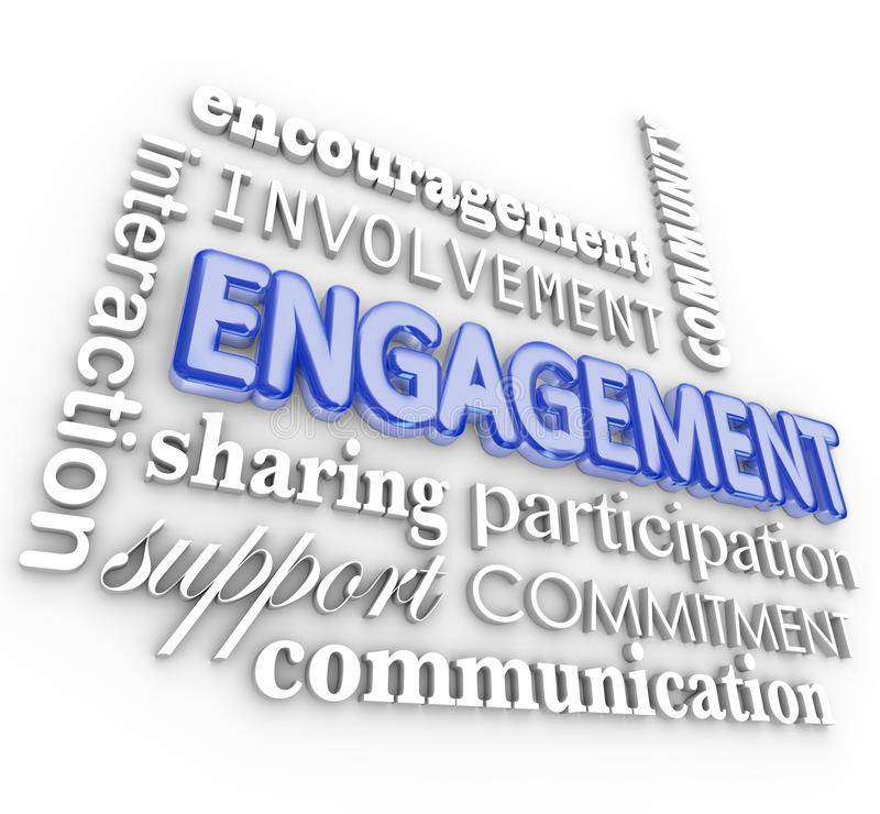 Engagement 3d Word Collage Interaction Participation Involvement. Engagment word in 3d letters with related terms such as interaction, participation, involvement stock illustration
