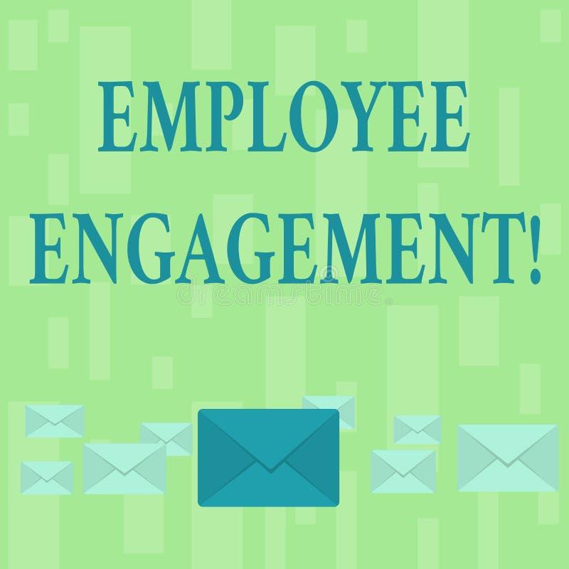 Engagement des employés des textes d'écriture Relations de signification de concept entre une organisation et son pastel des empl illustration de vecteur