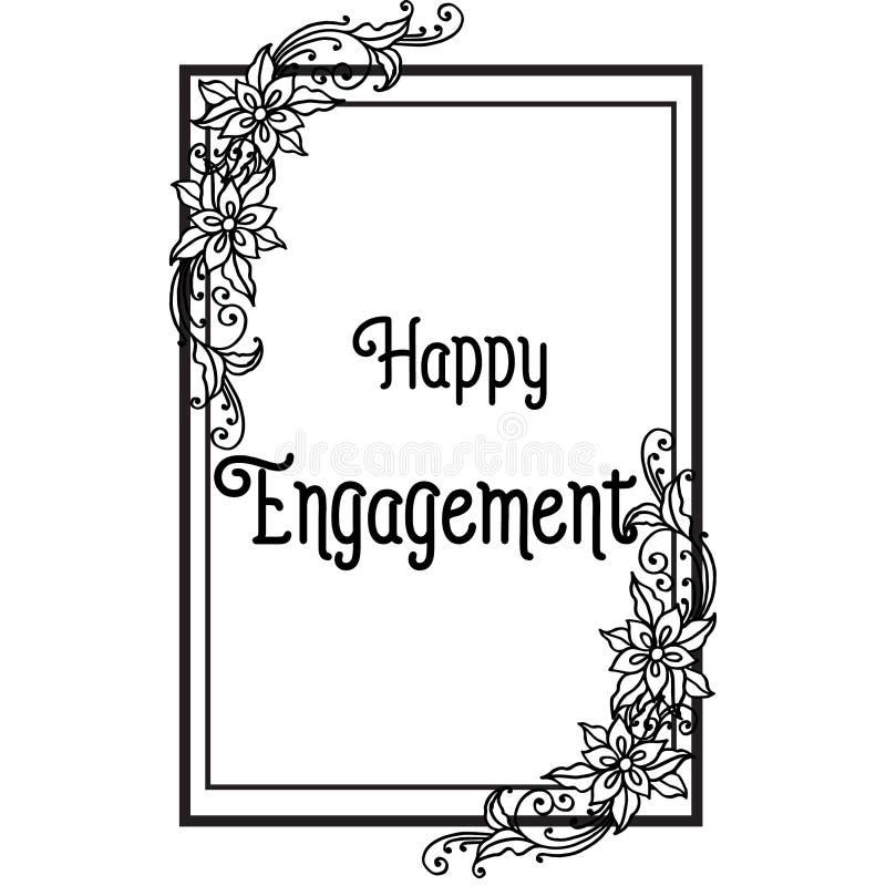 Engagement heureux de carte de voeux d'illustration de vecteur avec le beau cadre de guirlande illustration libre de droits