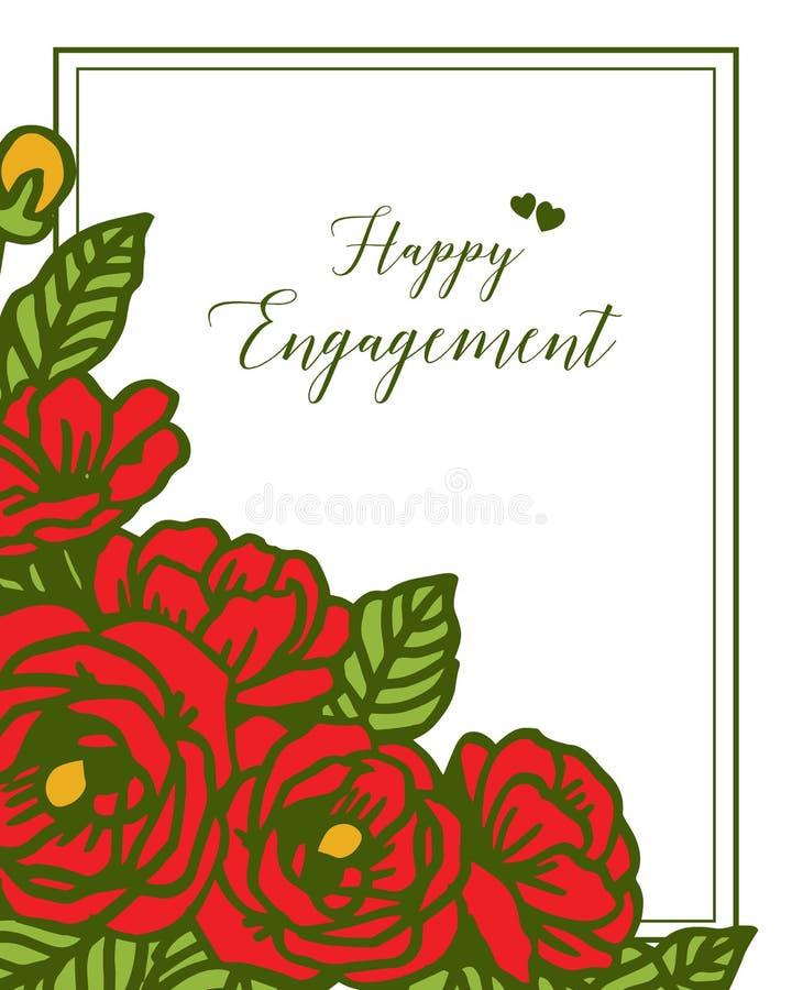 Engagement heureux de carte de voeux d'illustration de vecteur avec le divers cadre de guirlande illustration libre de droits