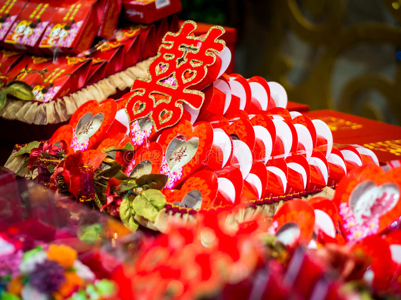 Engagement Offering with Double Happiness Chinese Character (Xuangxi) stock images