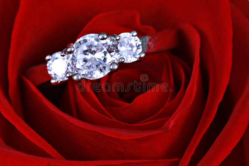 Engagement Ring. An engagement / wedding ring with diamonds, kept on a red rose stock photo