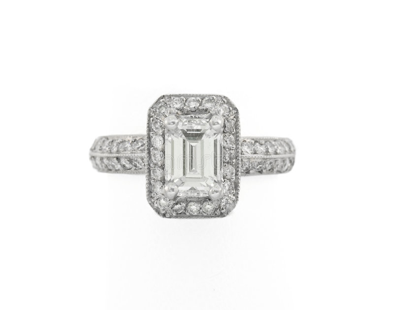 Engagement ring. Engagement diamond ring set in white gold mounting royalty free stock photography