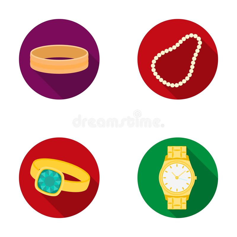 Free Engagement Ring, Beads From Pearls, Men`s Ring, Wristwatch Gold. Jewelery And Accessories Set Collection Icons In Flat Royalty Free Stock Image - 93302736