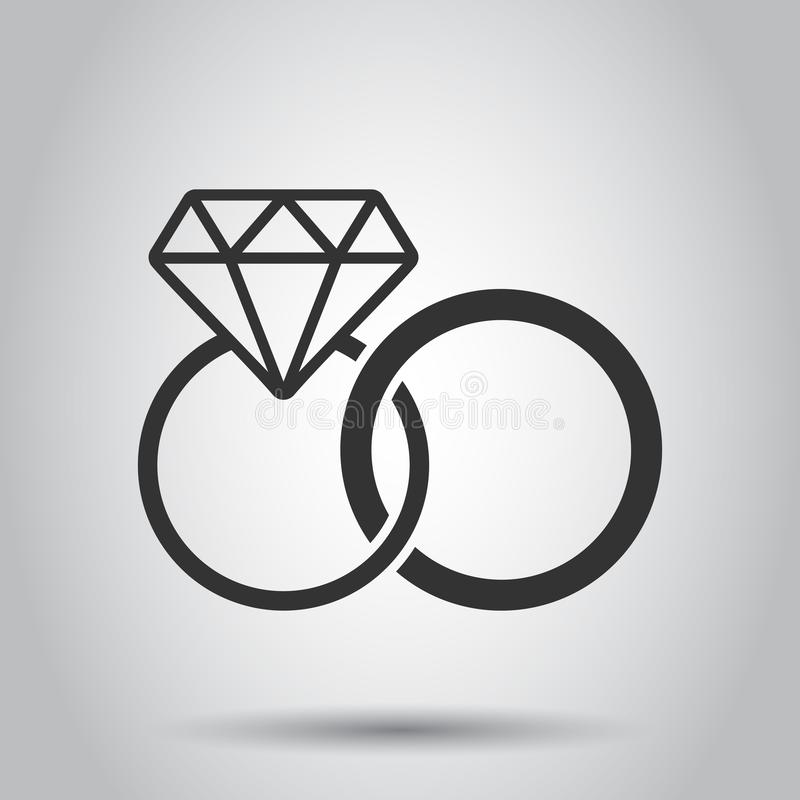 Engagement ring with diamond vector icon in flat style. Wedding jewelery ring illustration on white background. Romance vector illustration