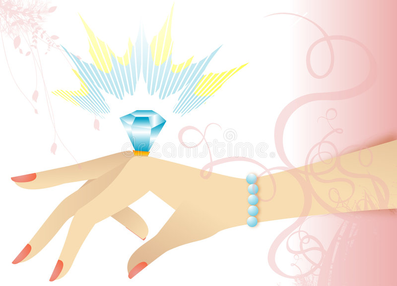 Engagement ring on hand vector illustration