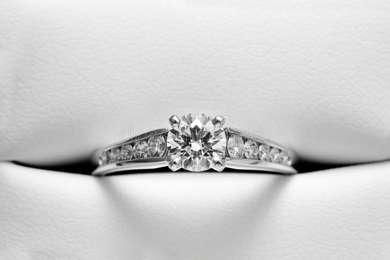 Download Engagement Ring In Leather Casing Stock Photo - Image: 14312414