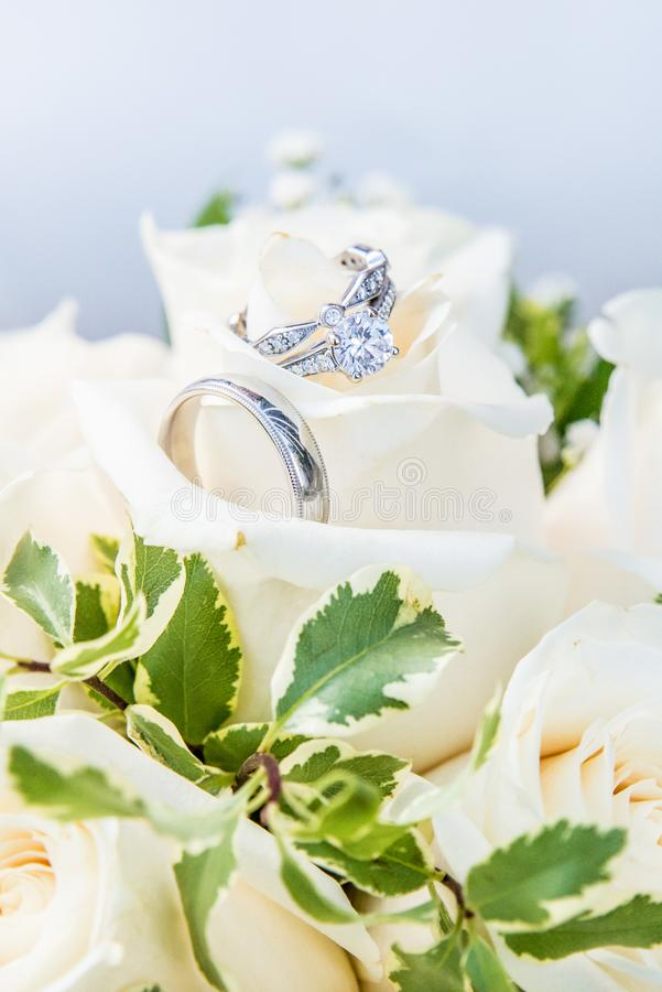 Engagement ring paired with wedding bands, resting on a bouquet of white roses royalty free stock photo